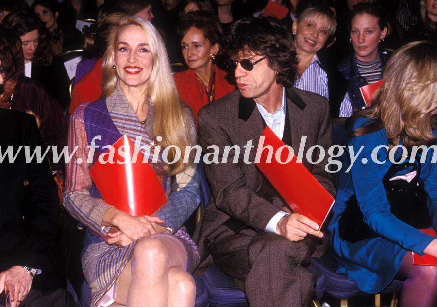Jerry Hall and Sir Mick Jagger at the Vivienne Westwood fashion show, march 1997.