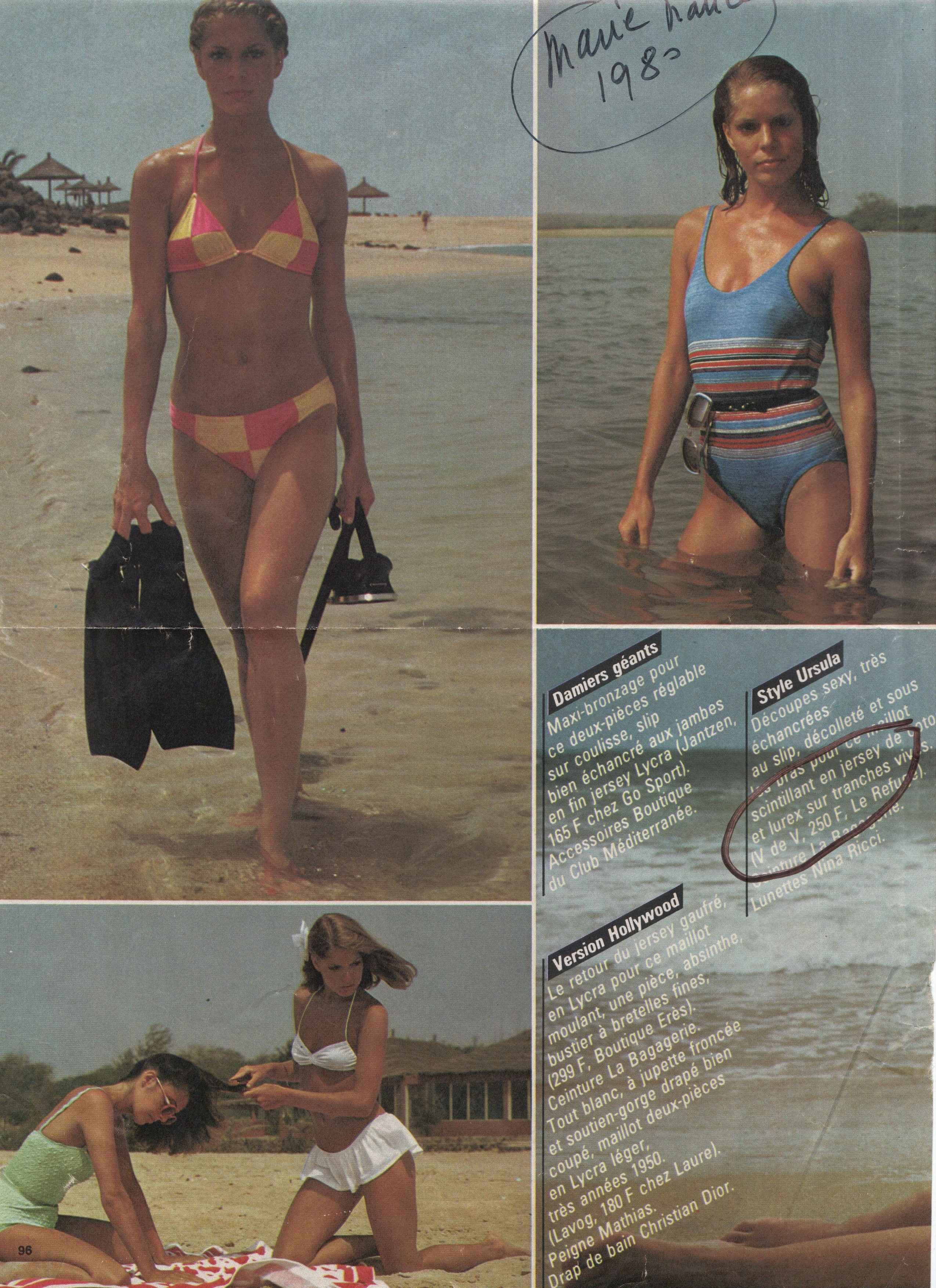 maillot de bain lurex (en haut  droite). Marie-France, 1980.